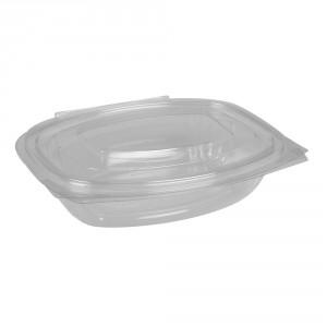 Salatboks PET m/låg 250ml oval glasklar pk/50