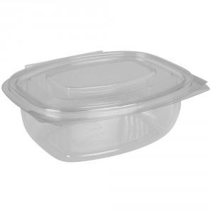 Salatboks PET m/låg 500ml oval glasklar pk/50